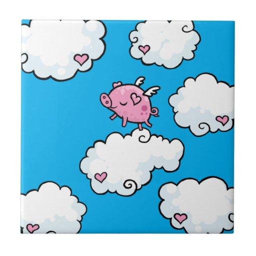 Flying pig dances on clouds tile
