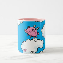 Flying pig dances on clouds Two-Tone coffee mug