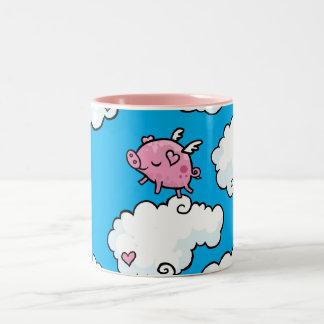 Flying pig dances on clouds Two-Tone coffee mug
