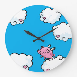 Flying pig dances on clouds Wall clock