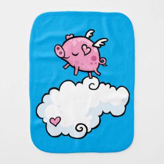 Flying pig dances on clouds burp cloth