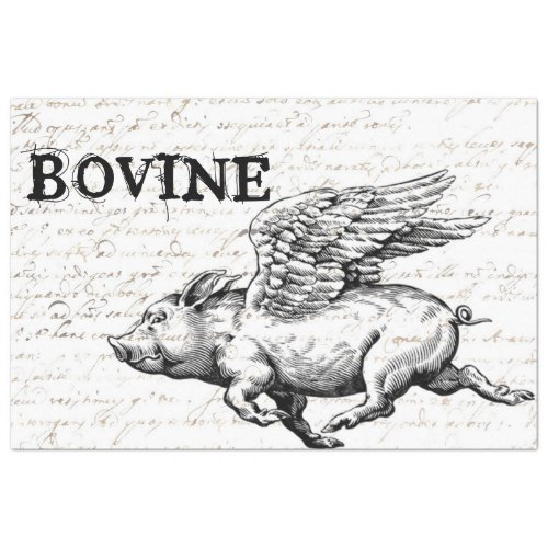 Flying Pig Decoupage Paper