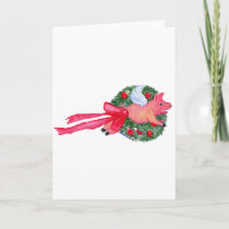 Flying Pig dragging Christmas wreath Holiday Card