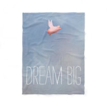 Flying Pig Dream Big Fleece Blanket