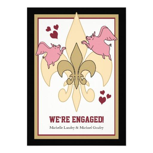 Flying Pig Fleur de Lis Black Gold Engagement Custom Invite