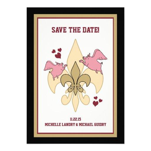 Flying Pig Fleur de Lis Save the Date Custom Announcements