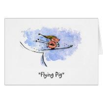 """Flying Pig"" Funny Ski Jump Pig Athlete Holiday Card"