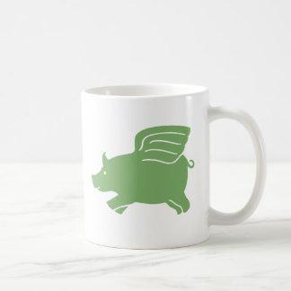 Flying Pig  -  Green Coffee Mug