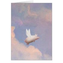 flying pig greeting card