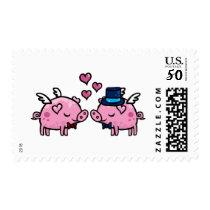 Flying pig groom and groom postage