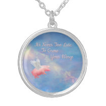 Flying Pig-Grow Your Wings Silver Plated Necklace