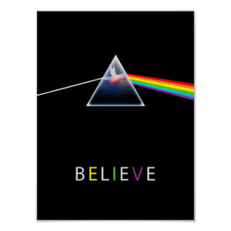 Flying pig in prism believe poster