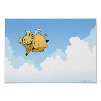 Flying Pig in the Clouds Posters