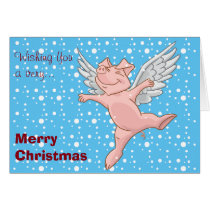 Flying Pig in the Snow Christmas Card