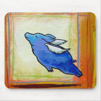 Flying pig little blue angel piggy art painting mouse pad