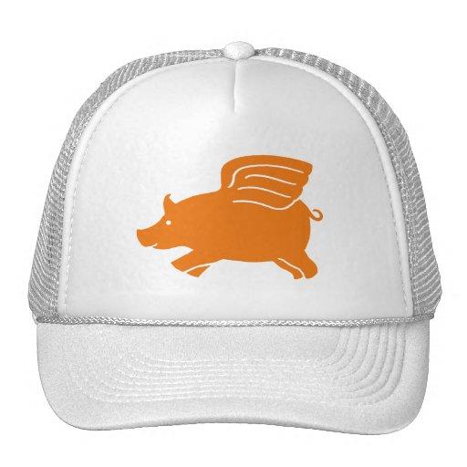 Flying Pig - Orange Mesh Hat
