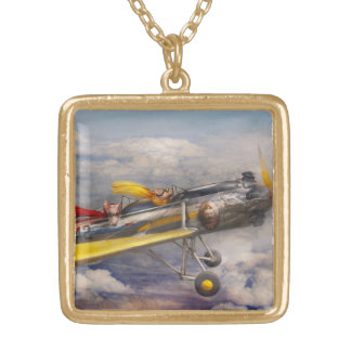 Flying Pig - Plane -The joy ride Gold Plated Necklace
