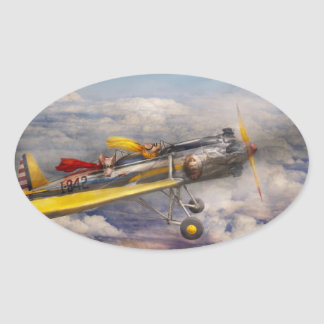 Flying Pig - Plane -The joy ride Oval Sticker