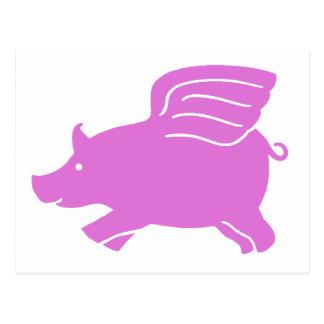 Flying Pig Postcard -  Pink