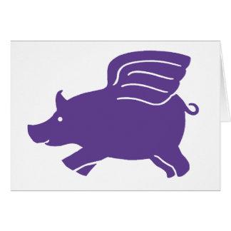 Flying Pig  -  Purple Card