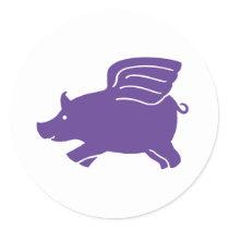 Flying Pig  -  Purple Classic Round Sticker