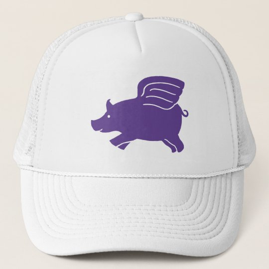 Flying Pig  -  Purple Trucker Hat