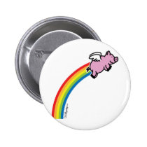 Flying Pig Rainbow Button