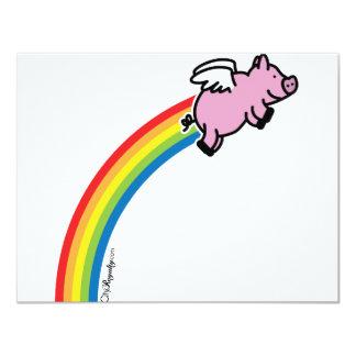 Flying Pig Rainbow Card