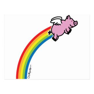 Flying Pig Rainbow Postcard