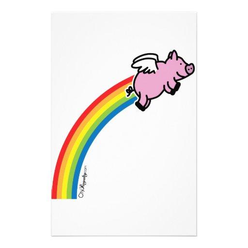Flying Pig Rainbow Stationery