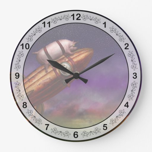 Flying Pig - Rocket - To the moon or bust Wall Clocks
