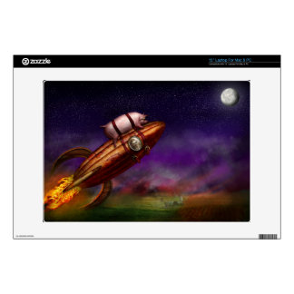 """Flying Pig - Rocket - To the moon or bust Decal For 13"""" Laptop"""