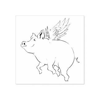 Flying Pig Rubber Stamp
