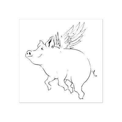 when pigs fly vzs2 good fortune rubber stamp zazzle com