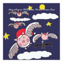 Flying Pig Santa Card