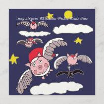 Flying Pig Santa Holiday Card