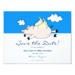 "Flying Pig Save the Date 4.25"" X 5.5"" Invitation Card"