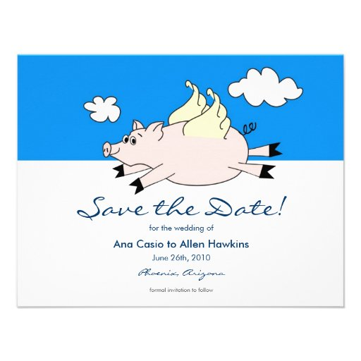 Flying Pig Save the Date Custom Invites