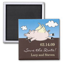 Flying Pig Save the Date Magnet