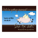 Flying Pig Save the Date PC Post Card