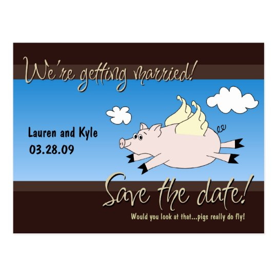 Flying Pig Save the Date PC Postcard