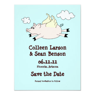 Flying Pig Save the Date, Solid Back Card