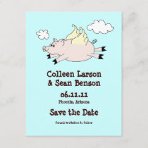 Flying Pig Save the Date, Solid Back Save The Date