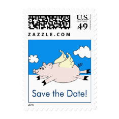 Flying Pig Save The Date Stamps at Zazzle