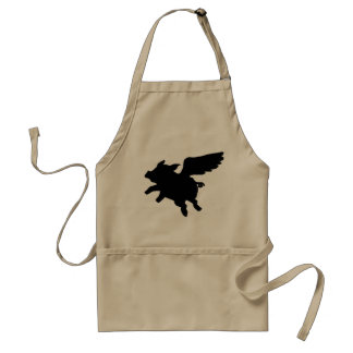 Flying Pig Silhouette Adult Apron