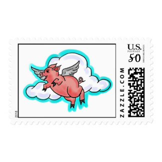Flying pig stamp