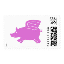 Flying Pig Stamp  -  Pink