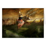 Flying Pig - Steampunk - The flying swine Greeting Card
