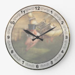 Flying Pig - Steampunk - The flying swine Wall Clocks
