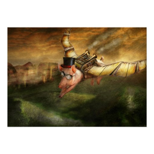 Flying Pig - Steampunk - The flying swine Personalized Invitation